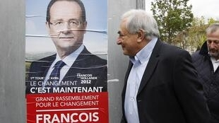 Depois de escândalo sexual envolvendo Strauss-Kahn (dir.), François Hollande (esq.) acabou sendo o escolhido do Partido Socialista para disputar eleições.