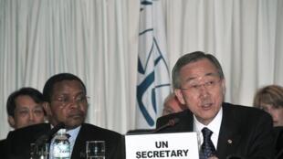 UN Secretary General Ban Ki-moon and Tanzanian President Jakaya Kikwete