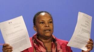 法國司法部長托比拉 Christiane Taubira, 2014年3月12日