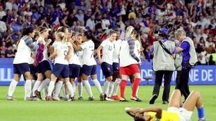 The French Women's football team celebrate their 2-1 victory against Brazil in Le Havre, 23 June 2019.