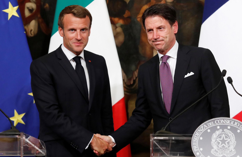 Президент Франции Эмманюэль Макрон и глава Совета министров Италии Джузеппе Конте