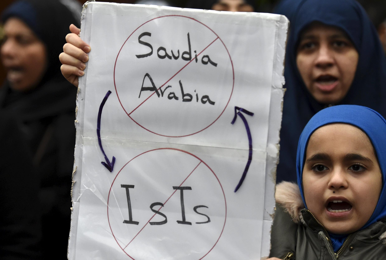 Manifestation de protestation contre les exécutions capitales du samedi 2 janvier en Arabie saoudite à Londres : Riyad est accusé de soutenir l'EI.