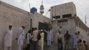 A mosque near the locked family house of Rimsha Masih.