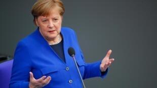 La chancelière allemande Angela Merkel au Bundestag, à Berlin, le mercredi 13 mai 2020.