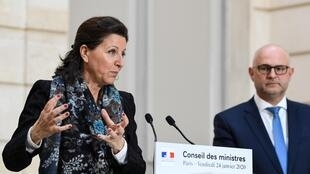 French Health minister Agnès Buzyn confirms the presence of the coronavirus in three patients in France, 24 January 2020.