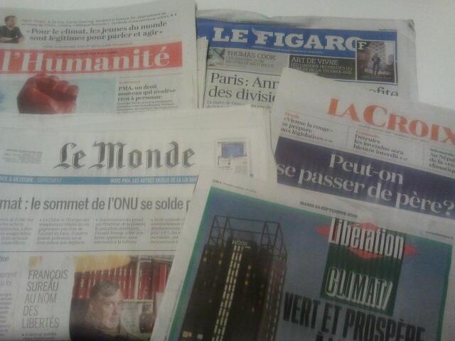 Primeiras páginas dos jornais franceses de 24 de setembro de 2019