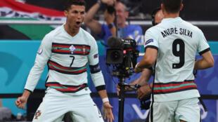 Ronaldo celebrates his record-breaking 10th European Championship goal