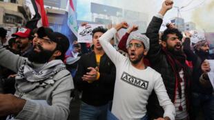 Manifestation anti-gouvernement à Bagdad, place Tahrir, le 10 janvier 2020.