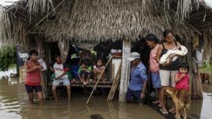 Personas afectadas por las fuertes lluvias en los suburbios de Trinidad, en el departamento de Beni, el 9 de febrero de 2013.