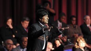 El presidente boliviano Evo Morales inaugurando la  reunión de la OEA en Cochabamba