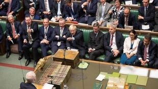 Britain's Prime Minister Boris Johnson responds to his defeat on emergency debate on a no-deal Brexit in the House of Commons, 3 September 2019