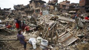 Bhaktapur, Népal, le 30 avril 2015