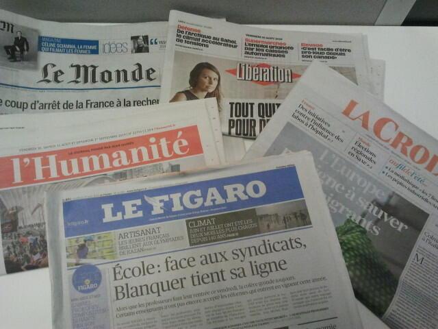 Primeiras páginas dos jornais franceses de 30 de agosto de 2019