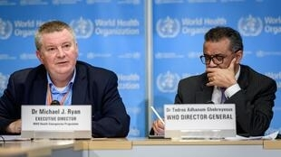 WHO director of emergencies chief Michael Ryan, along with Tedros Adhanom Ghebreyesus, WHO director general in Geneva, 9 March 2020.