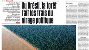 O jornal Libération na sua edição desta sexta-feira (12) traz matéria sobre o desmatamento da Amazônia brasileira.