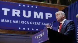 Donald Trump a annoncé officiellement sa candidature pour la nomination républicaine à la présidentielle américaine à New-York, le 16 juin 2015.