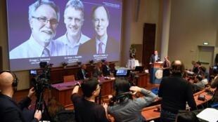 Los ganadores del Nobel de Medicina de 2019: William G. Kaelin Jr, Sir Peter J. Ratcliffe y Gregg L. Semenza. Estocolmo, Suecia 07/10/19.