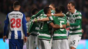 Sporting festeja em Braga a 26 de Janeiro a vitória por 3/1 contra o FC Porto