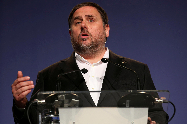 Cựu phó chủ tịch vùng Catalunya Oriol Junqueras trong một cuộc mít tinh ngày 26/09/2017 tại Barcelona.