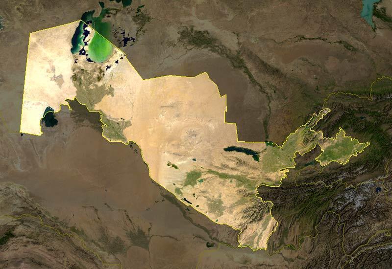 Satellite view of Uzbekistan