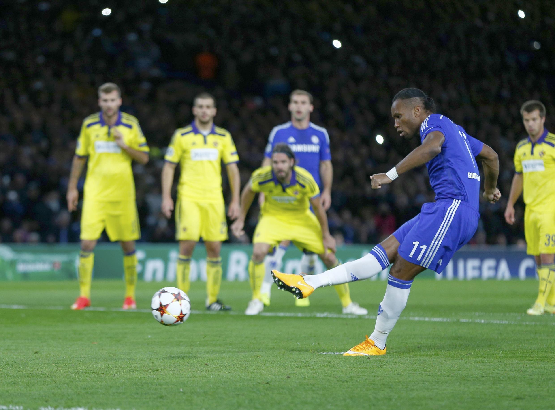 Sur penalty face à Maribo, Didier Drogba a marqué son premier but avec Chelsea depuis son retour au club cet été.