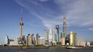 Khu văn phòng Phố Đông ở thành phố Thượng Hải, Trung Quốc.