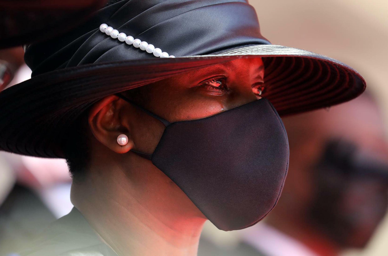 Martine Moise durante el funeral de su esposo asesinado, el presidente haitiano Jovenel Moïse, el 23 de julio de 2021