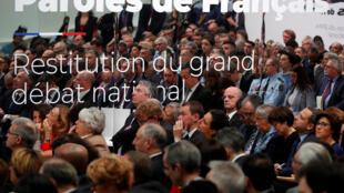 圖為法國政府全體閣員與國民議會參眾兩院議員2019年4月8日在巴黎大王宮舉行全國大辯論總結報告儀式