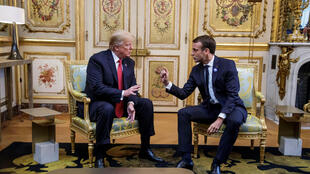 U.S. President Donald Trump and French President Emmanuel Macron meet at Elysee presidential palace, as part of the commemoration ceremony for Armistice Day, 100 years after the end of the First World War, in Paris, France, November 10, 2018.