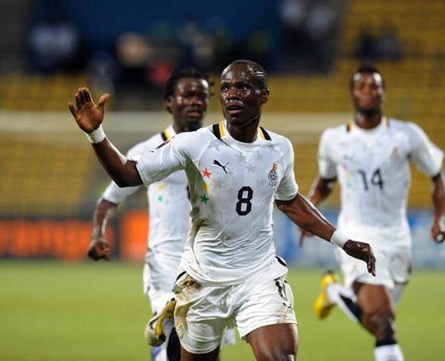 Emmanuel Badu wa timu ya Ghana akishangilia goli alilofunga dhidi ya Guinea