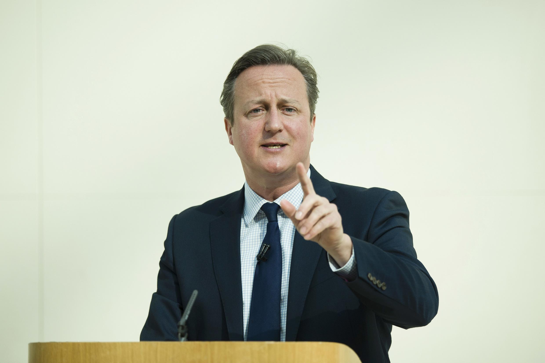 Премьер-министр Великобритании Дэвид Кэмерон во время выступления в Британском музее Лондона.