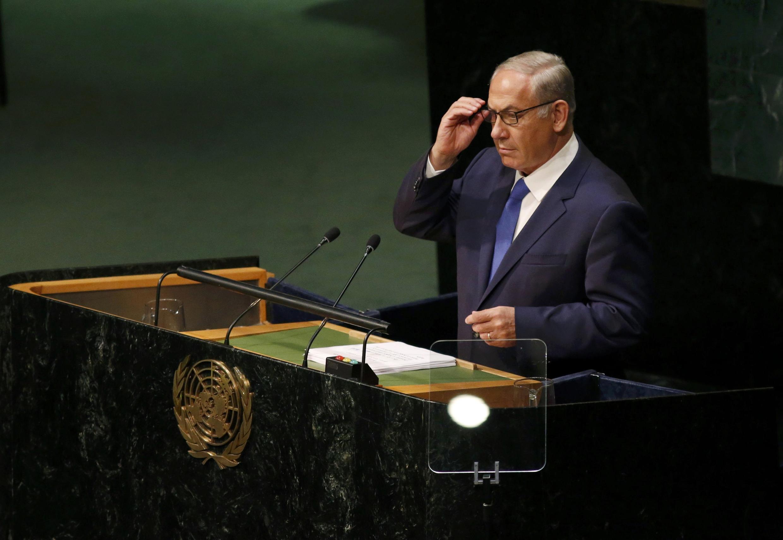Benjamin Netanyahu, primeiro-ministro israelita, durante o seu discurso na ONU.