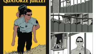 Couverture de la bande dessinée «Quatorze juillet» de Bastien Vivès et Martin Quenehen ainsi qu'une planche de la BD.