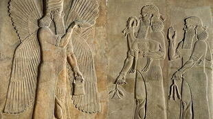 Assyrian - Frieze depicting a winged spirit a sargon or priest carrying