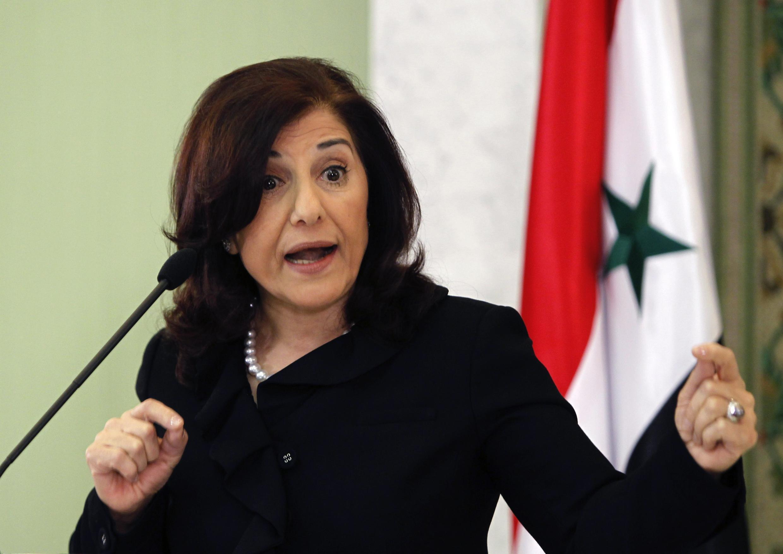 A conselheira de Bashar al-Assad, Boussaïna Chaabane, que busca apoio dos Brics para uma solução do conflito na Síria.