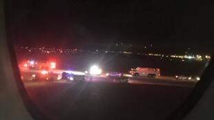 Esquema de segurança montado em Salt Lake City para a aterrissagem de emergência do voo 65 da Air France, na noite de terça-feira (17.