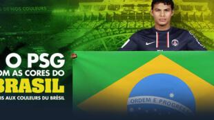 Lucas Moura, contratado do PSG, exibe a bandeira do Brasil.