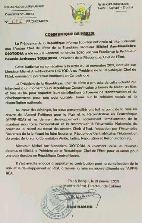 Communiqué de la présidence centrafricaine répondant à la lettre de Michel Djotodia.