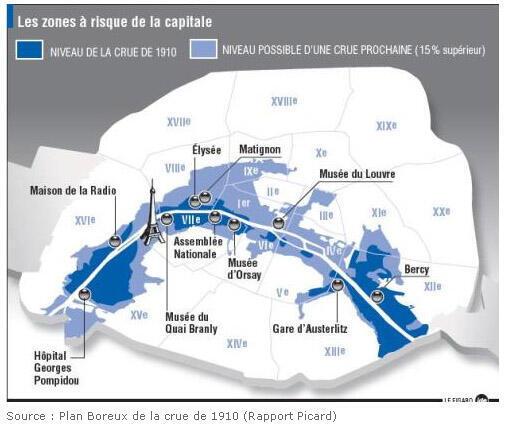 En bleu foncé la grande crue de 1910, en bleu clair les zones qui pourraient être inondées en cas de crue exceptionnelle.