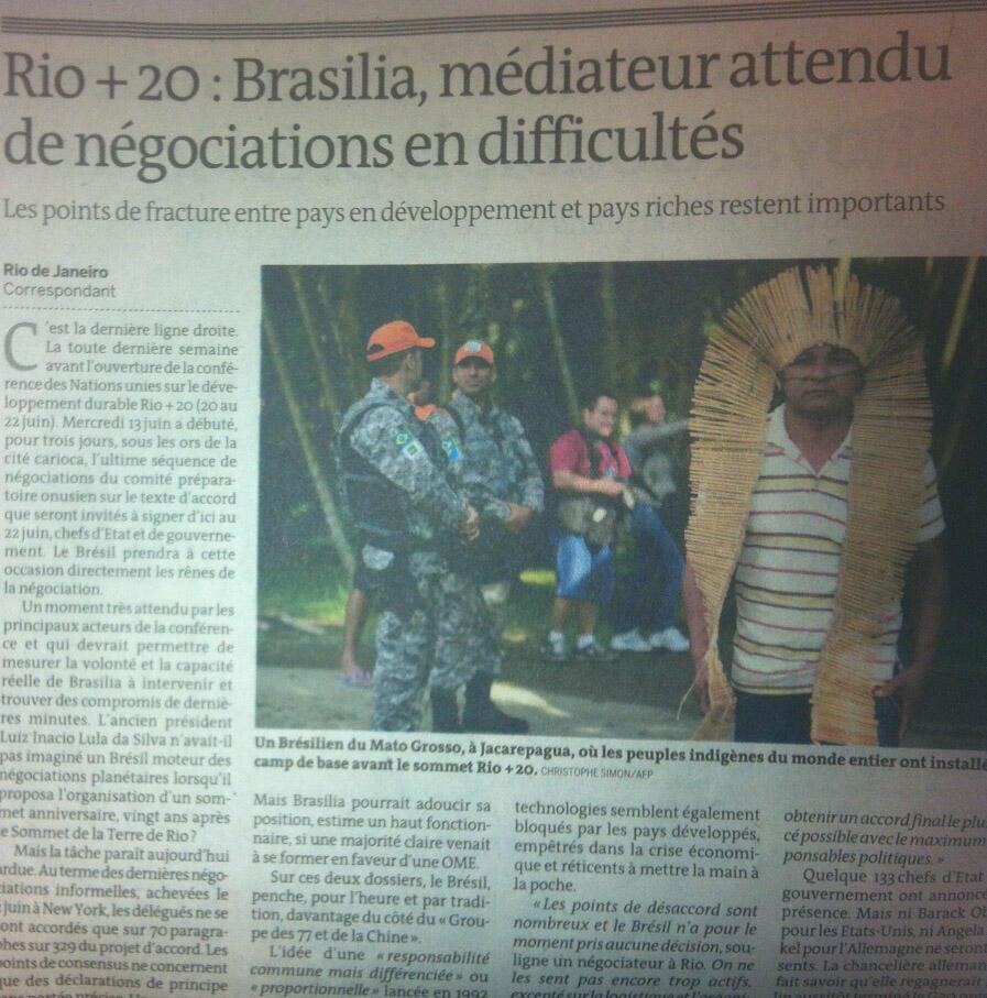 Jornal francês deposita as esperanças no Brasil como o grande mediador dos pontos sensíveis da Rio+20
