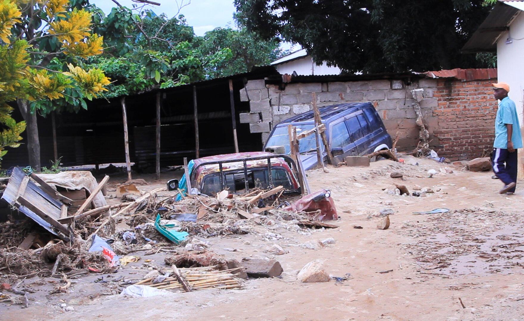 Les inondations ont fait d'importants dégâts dans la ville d'Uvira, en RDC, avril 2020.