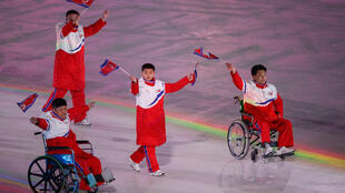 Members of  Team North Korea at the Opening Ceremony for Pyeongchang 2018 Winter Paralympics