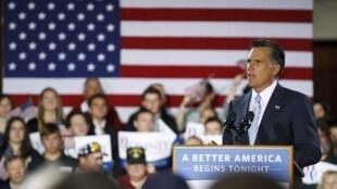 O pré-candidato republicano, Mitt Romney, durante campanha nesta quarta-feira, em New Hampshire.