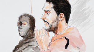 Mehdi Nemmouche in a court drawing at the start of the trial on 10 January 2019