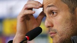 O goleiro Júlio César durante entrevista coletiva na Granja Comary, nesta quinta-feira, 19 de junho.