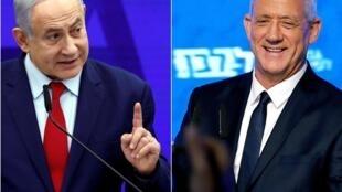 O primeiro-ministro conservador Benjamin Netanyahu (à esquerda) enfrenta uma disputa apertada com o adversário de centro-esquerda Benny Gantz, líder do partido Azul e Branco.