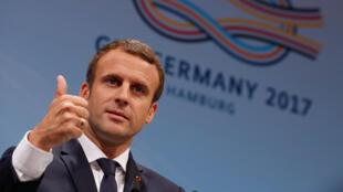 French President Emmanuel Macron at the G20 in Hamburg