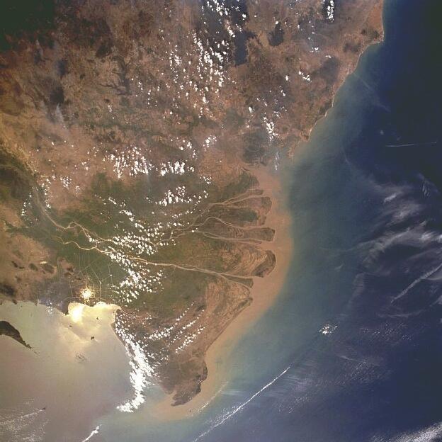 Ảnh chụp vệ tinh sông Mêkông.