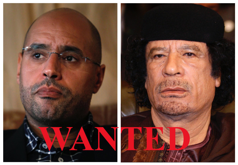 Муаммар Каддафи (слева) и его сын Сейф аль-Ислам. 27 июня 2011 года Международный уголовный суд выписал ордер на их арест