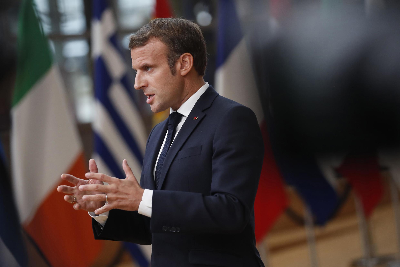 Rais wa Ufaransa Emmanuel Macron katika mkutano wa Umoja wa Ulaya huko Brussels Oktoba 1, 2020.